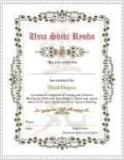 Reiki 3rd Level Degree Certificate